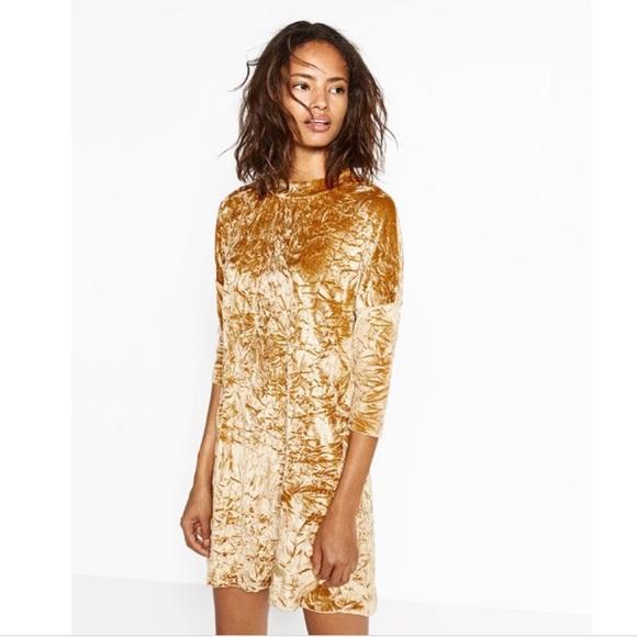 f98317bd Zara Dresses | Crushed Velvet Mini Dress Mustard Size Small | Poshmark